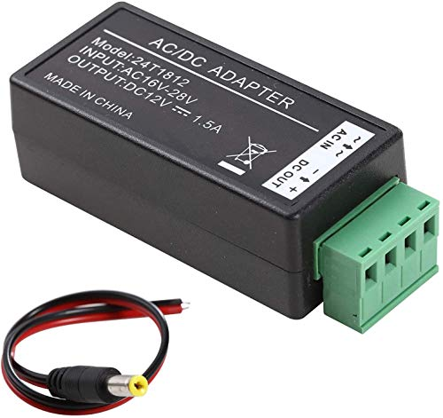UHPPOTE AC16-28V to DC12V Convertor 1.5Amp Supply Current Power Adapter for Surveillance CCTV Security System