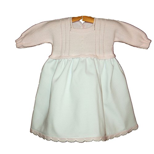 PRIMERAEDAD/Vestido bebé Manga Larga Falda en Pique Cuerpo de Punto. (6 Meses)
