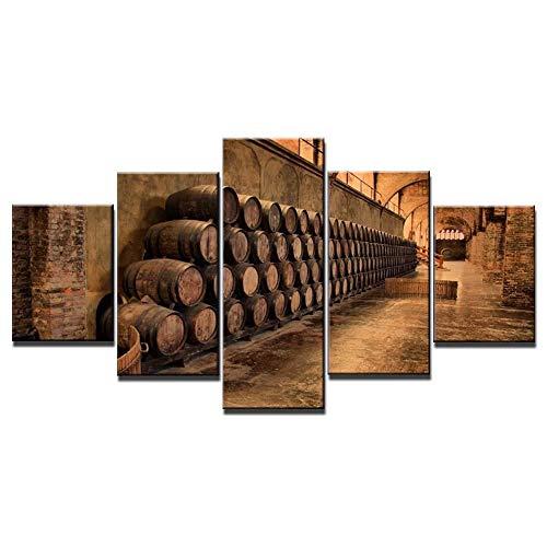 axqisqx 5 Piezas De Arte De Pared De Lienzo para Sala De Estar, Dormitorio, Decoración del Hogar, Listo para Colgar Impresiones Modernasserie De Vinos 13-150Cmx80Cm