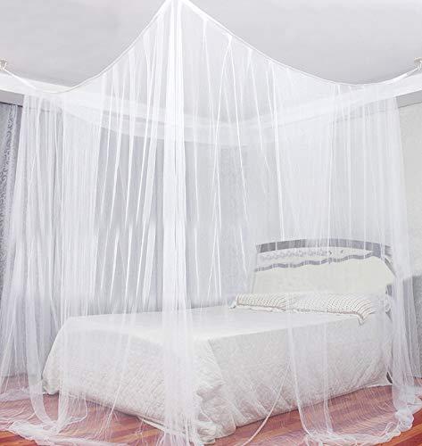 LEMESO Mosquitera Cuadrada para Cama -2,2 x 2 x 2M, Mosquitera Blanca con 2 Aperturas Cubierto Grande, Red contra Mosquitos para Interior y Exterior- Vienen con Ganchos y Cuerdas