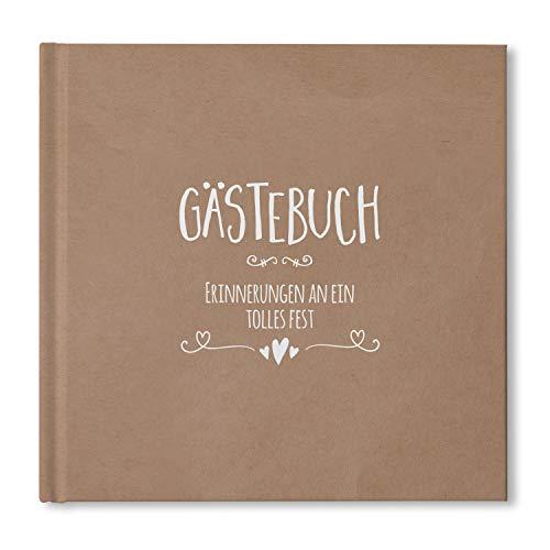 bigdaygraphix Gästebuch Hochzeit ohne Fragen - quadratisch 21x21cm - Hochzeitsbuch 104 Leere Seiten...