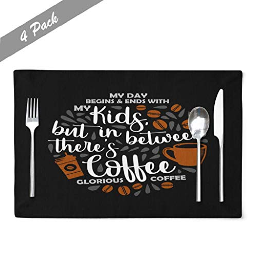 Ansote Typography Placemats, Father Day Quote Coffee Dad Fathers Daddy Family 12x18 Inch Set of 4 Placemats Heat Resistant Dining Table Place Mats Kitchen,Linen Non Slip for Kids,Father Day Amp