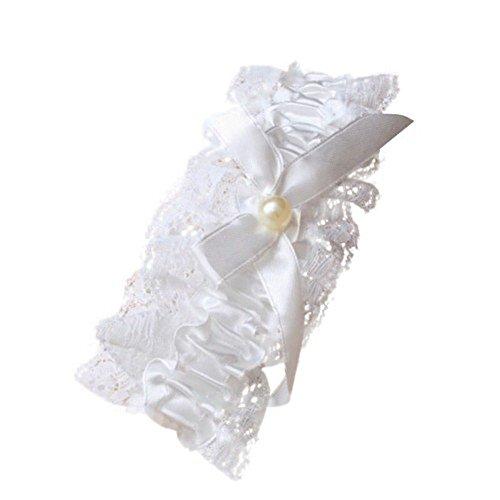Strumpfband mit Spitze, Schleife und Perle in der Mitte, Brautschmuck für Hochzeit, Cremefarben