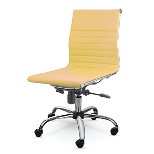 Winport Furniture WF-9712L Mid-Back Leather Office Desk Chair Yellow