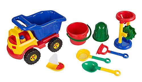 Idena 40114 zandspeelgoedset in tas, bestaande uit emmer, zeef, boot, zandmolen, hark, kleine schep, vormpje en een vrachtwagen, om te spelen op het strand en in de zandbak, 9-delig, kleurrijk