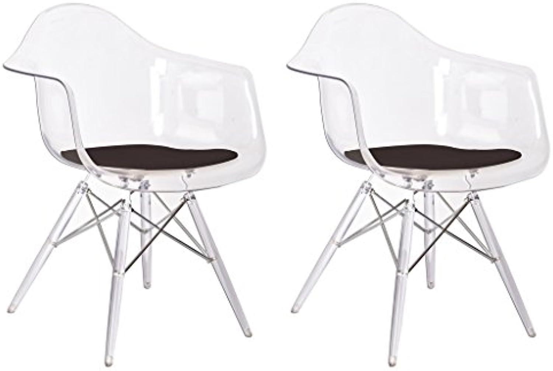 Meubletmoi Set 2Stühle Design puristischen Formen aus Polycarbonat–Collection Bridget–Transparent und Kissen schwarz