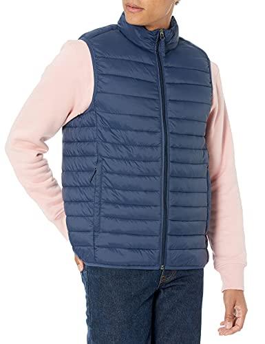 Amazon Essentials Men's Lightweight Water-Resistant Packable Puffer Vest, Navy, Medium