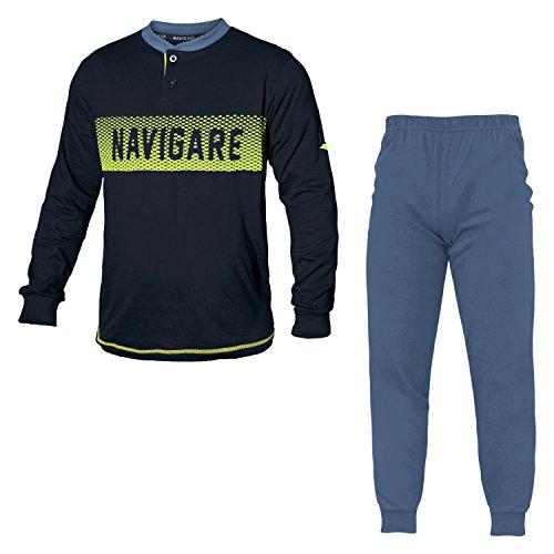 Navigare Pigiama Uomo Cotone Jersey 2 Colori Serafino Art.140865 (Navy - 48 / M)