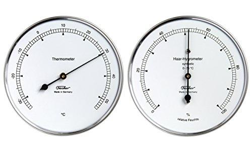 Fischer Wetter-Set - Thermometer und Haar-Hygrometer synthetic, Serie Präzis im Edelstahlgehäuse, 100mm, Artikel 117.01 und 122.01, Made in Germany