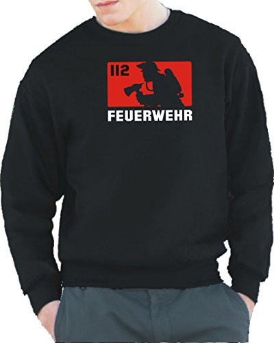 feuer1 Sweat-Shirt Black, 112 – Pompiers (Rouge/Blanc) L Noir - Noir