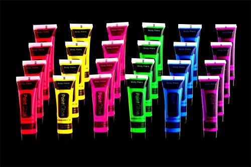 UV Glow Blacklight Face and Body Paint 24 tubes/Box Neon Face Paint in the Dark Black Light Paint