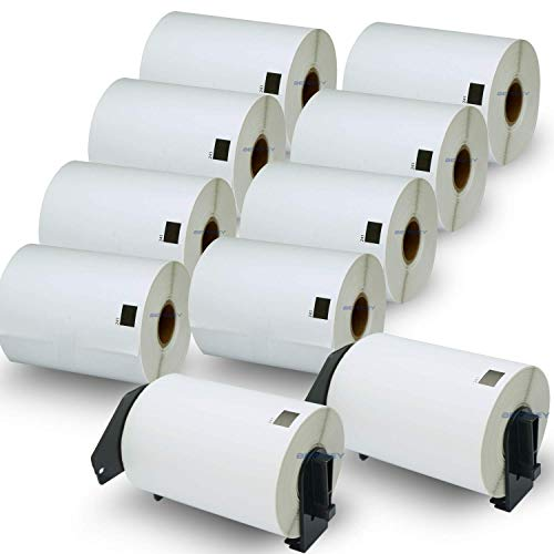 "BETCKEY - Compatible Shipping Labels Replacement for Brother DK-1241 (4"" x 6""), Use with Brother QL Label Printers [10 Rolls/2000 Labels + 2 Reusable Holder Frames]"