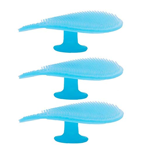 Depuradores silicón de la Cara del baño del bebé de Silicona costra láctea Cepillo de Limpieza Facial Cepillo de Limpieza del cojín Suave Masaje Cepillo para Baby Blue 3 Piezas