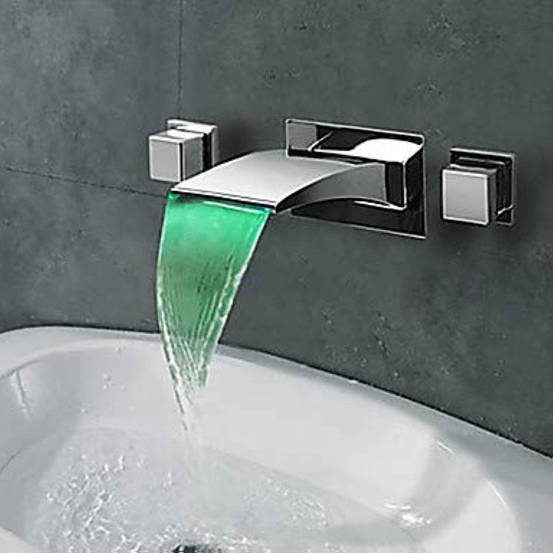 YALTOL Waschbecken Wasserhahn, Wasserfall Chrom verbreitet Zwei Griffe DREI Lcher