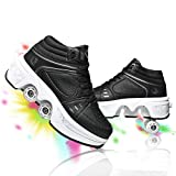 Deformation Roller Shoes Unisex Skating Shoes Pop Out Wheel Roller Skate Automatic Walking Shoes Invisible Pulley Skates for Adults Children (Black high top, US 9.5)