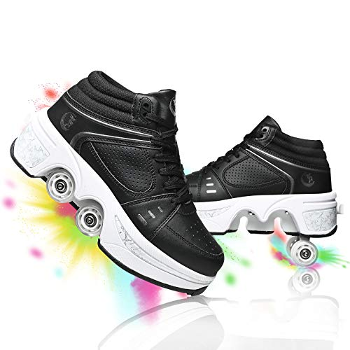 shoes with wheels for adults YOUSIOI Deformation Parkour Shoes with Wheels for Girls/Boys Kick Rollers Shoes Retractable Adults/Kids Four Rounds of Running Shoes Roller Skates Unisex Skating Shoes