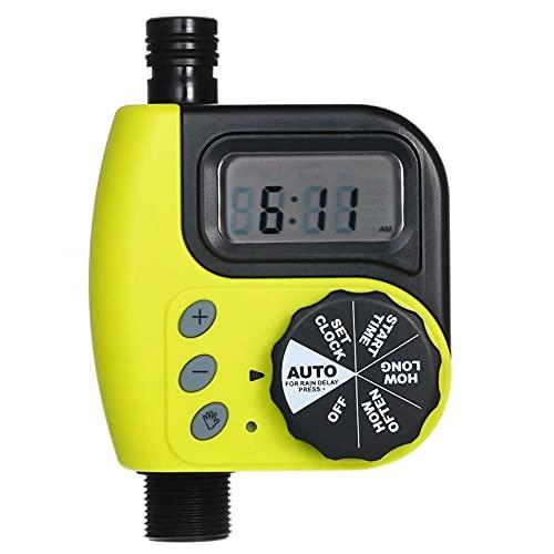 ZHJIUXING ST Temporizador de riego automático del jardín, Temporizador de riego Sistema de riego doméstico electrónico de Pantalla Grande al Aire Libre, Yellow, US