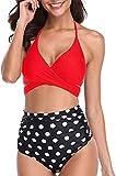 Traje de baño de dos piezas sexy con tirantes + pantalones cortos estampados de moda divididos trajes de baño con almohadilla en el pecho Rojo + estampado de puntos. XL