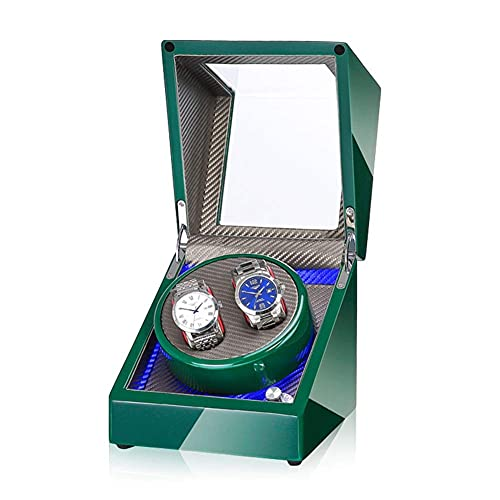 Enrollador de Reloj Doble automático Caja de Almacenamiento de rotación de 2 Relojes con Organizador de Vitrina de Motor japonés Alimentado por CA o CC ZZST