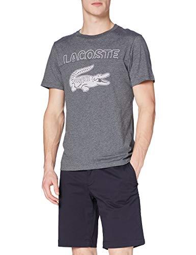 Lacoste TH1573 T-Shirt, Bitume Chine/Farine-glaie, M Uomo