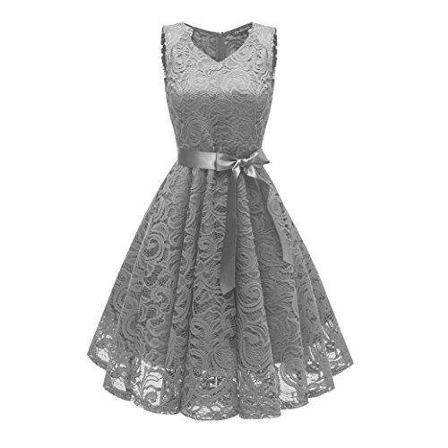 Damen Vintage Prinzessin Blumen Spitzekleid,TWIFER Cocktail V-Ausschnitt Party A-line Swing Kleid Abendkleider Hochzeitskleid (L, Grau)