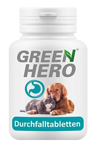 Green Hero Durchfalltabletten für Hund und Katze bei Durchfall Magen Darm und Verdauungsbeschwerden enthält Präbiotica, Flohsamenschalen und Bentonit 60 Kautabletten
