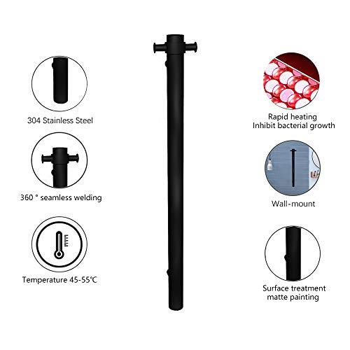 BILLY'S HOME Scaldasalviette Elettrico, Unique Design Verticale Bar 30W Plug-in Hardwired riscaldato portasciugamani per Bagno A Parete Panno Heated Towel Stendino (39.3X5.6 in),Plug in