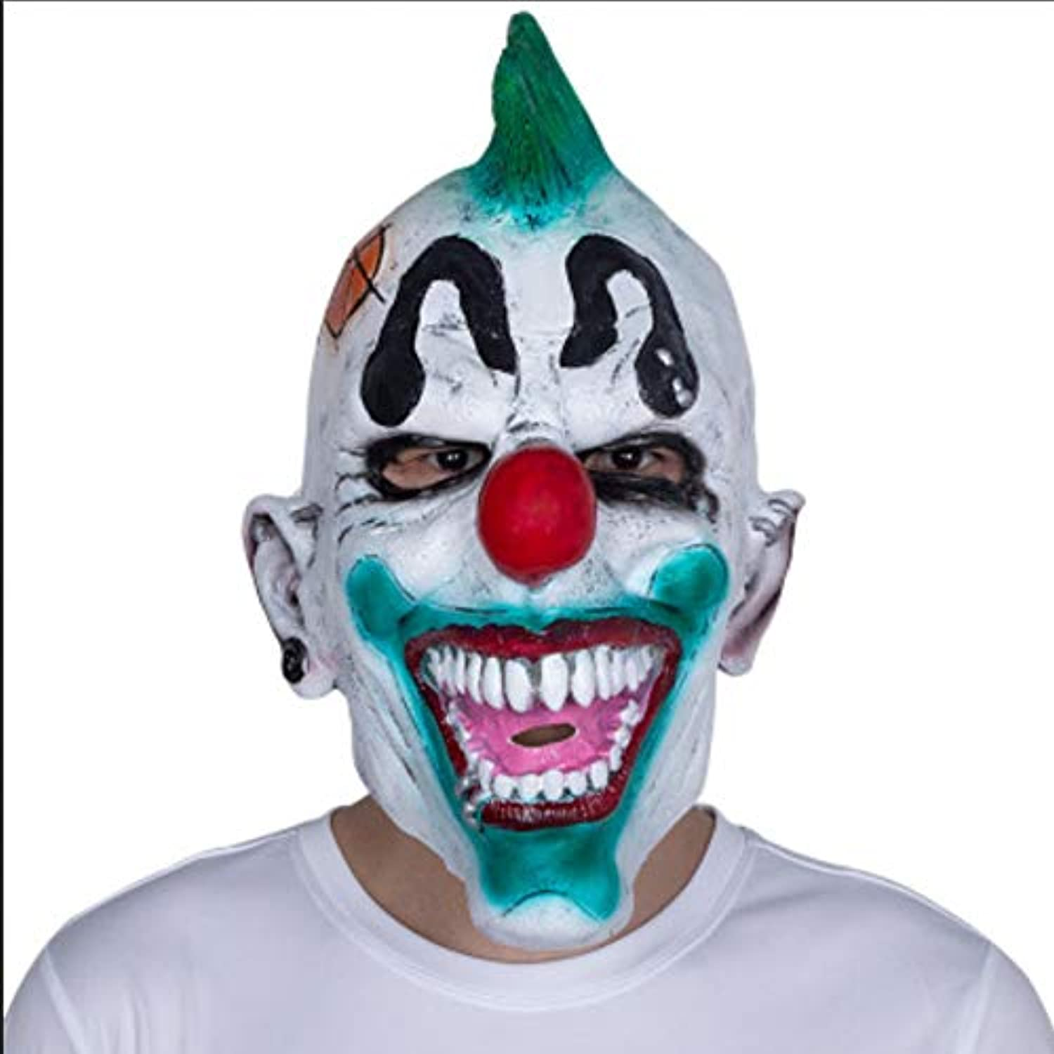 Sonwaohand Halloween Latex Headgear Funny Clown Mask Prom Party Tricky Prop Mask Horror Mean code 4