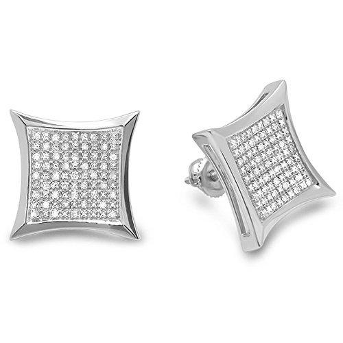 Dazzlingrock Collection 0.35 Carat (ctw) Round Diamond Kite Shape Mens Hip Hop Iced Stud Earrings 1/3 CT, Sterling Silver (0.35 Ct Fancy Diamond)