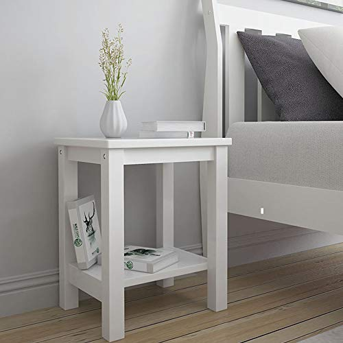 White Bedside Tables, Fityou Side Table with Shelf, Small Wooden Cabinet Nightstand for Bedroom, Living Room End Tables, Sofa Table for Lamp/Coffee/Telephone, 32 x 38 x 47 CM
