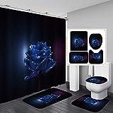 Fashion_Man Duschvorhang, luxuriös, königsblau, mit Rosen, elegante Kunstblumen, Badezimmer-Set, wasserdichter Stoff, Polyester, rutschfest, Badvorleger, WC-Vorleger, Blüht in der Nacht, 16 Stück