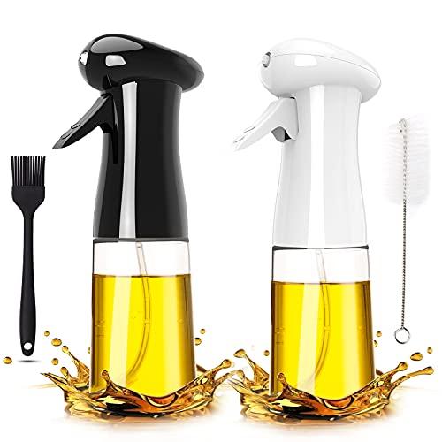 Pukitt 2Pcs Pulverizador Aceite Cocina 200ML Spray Aceite Dispensador Aceite con Cepillo Spray Oliva Aceite para Cocinar, Barbacoa,Ensalada, Asar, Hornear,Pan,BBQ