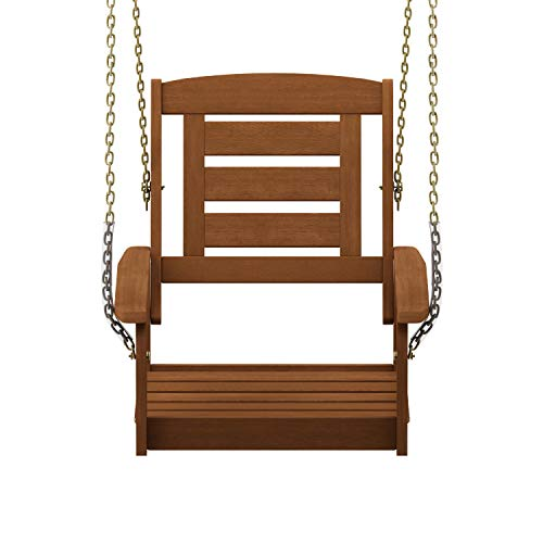 Furinno FG18414SC Tioman Hardwood Patio/Garden/Outdoor Porch Swing, 1-Seater Without Frame, Natural