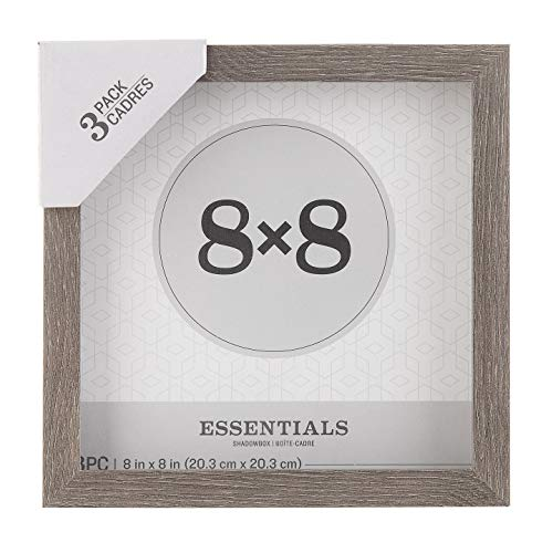 Darice Essentials Gray 8 x 8 inches, 3 Pieces Shadow Box, 3 Count