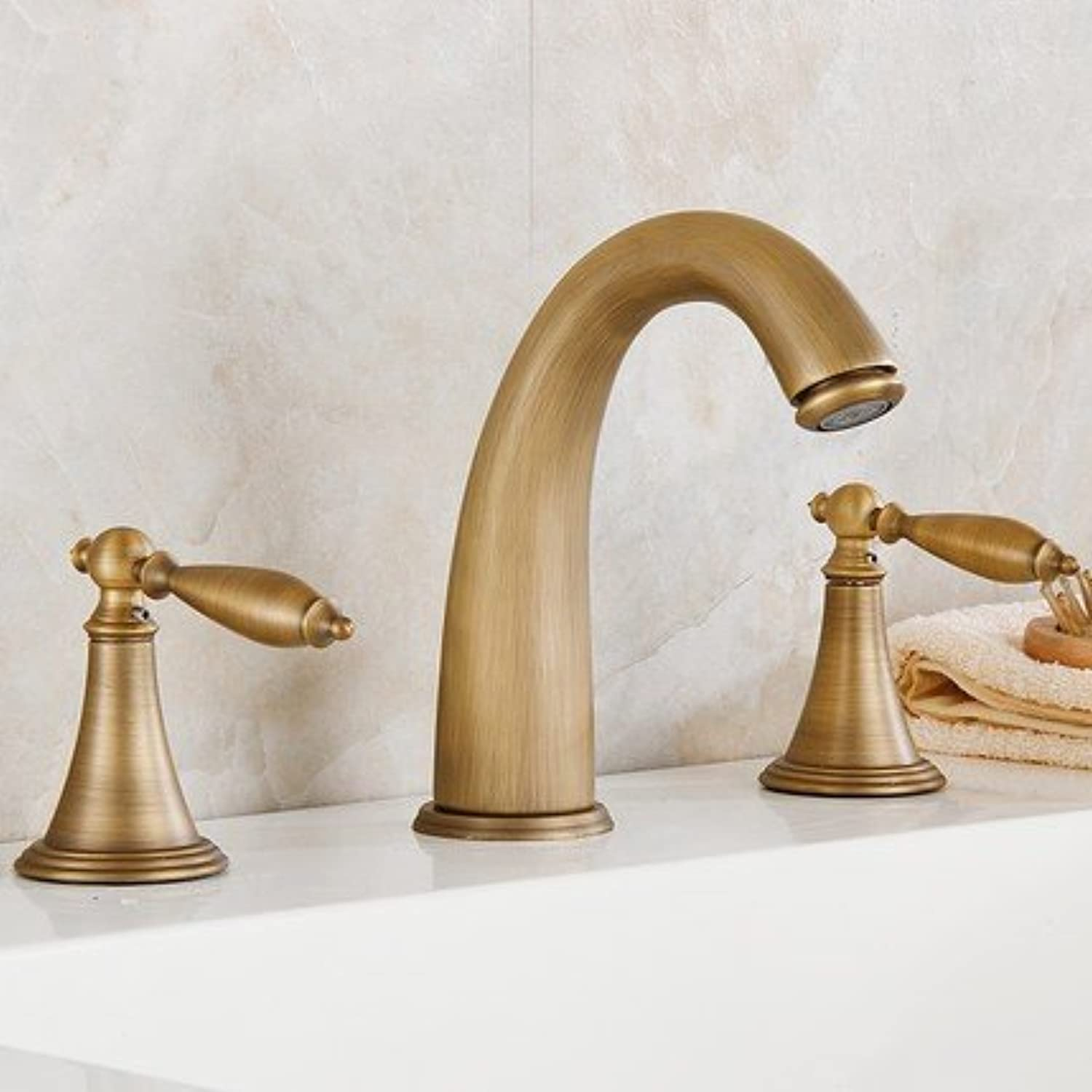 European antique three-hole basin faucet copper set of hot and cold water faucet