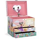 Jewelkeeper Musical Jewelry Box with 2 Pullout Drawers and Gold Foil, Little Queen Ballerina Design, Swan Lake Tune