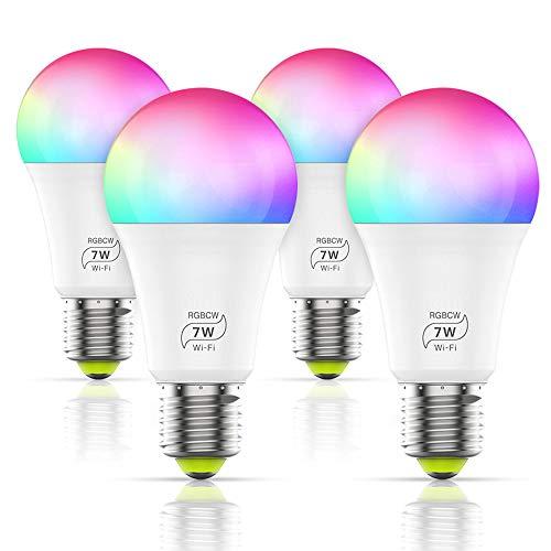 WLAN Smart LED 7W Lampe WIFI Beleuchtung, Ampoule LED E27 AC 100-264V Glühbirne, Dimmbar 16 Mio Farben Leuchtmittel E27 Bulbs Kompatibel mit Alexa, IFTTT, Google Home und Siri (4er Pack)