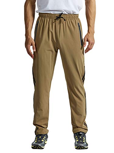 TBMPOY Men's Lightweight Breathable Casual Hiking Running Pants Outdoor Sports Quick Dry Trousers Khaki XXL