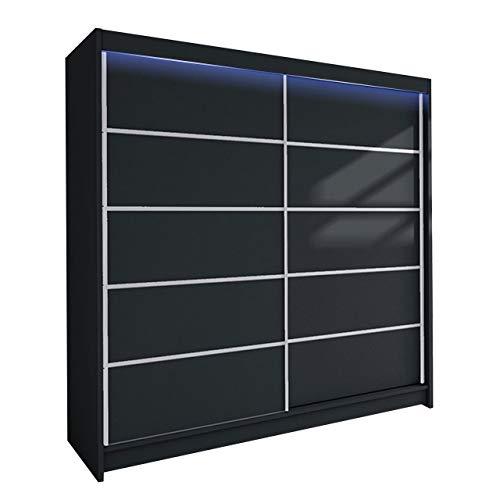 Mirjan24 Kleiderschrank Talin IV, Garderobenschrank mit Kleiderstange und Einlegeboden, Schlafzimmerschrank, Dielenschrank, Flurschrank, Schwebetürenschrank (Schwarz, mit RGB LED Beleuchtung)