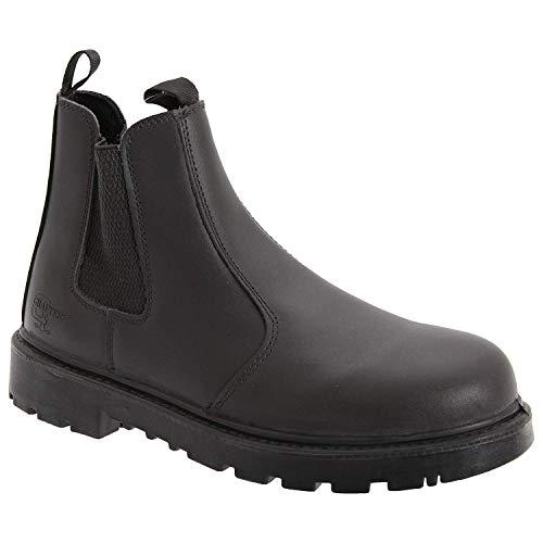 Unisex Black Leather Safety Dealer Boot -...