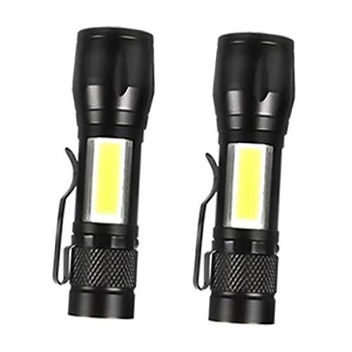F Fityle 2X Linterna Recargable USB Super Brillante Luz de Trabajo COB de Bolsillo Linterna LED con Clip O Colgante, Zoomable, Resistente Al Agua, Camping Send
