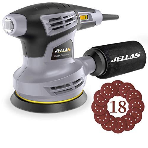 Jellas Exzenterschleifer mit Absaugung, Staubfangbehälter, staubgeschütztem Schalter & Getriebegehäuse – 280W – 125mm & 12 Stück- Schleifpapiere (13000rpm, mit ein Staubsammelbeutel)