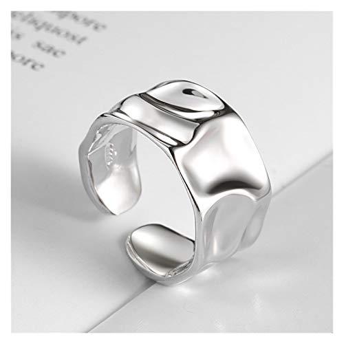 HXTXB - Anillo convexo de plata dorada con diseño irregular, ancho y abierto, para mujer, hombre S-R713 (color de la gema: plata, tamaño del anillo: ajustable)
