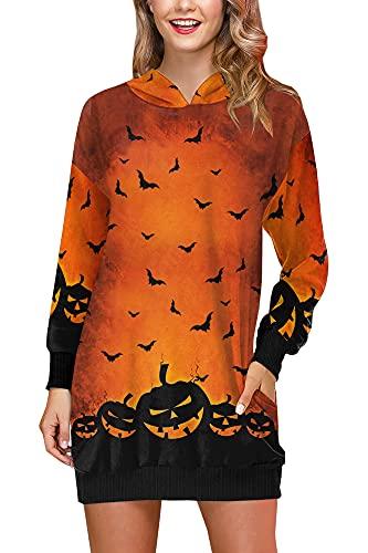 Halloween Motto Party Dress Frauen Bunt Funny Kostüme mit Fledermäuse Taschen Arme Lang Kleid Orange S
