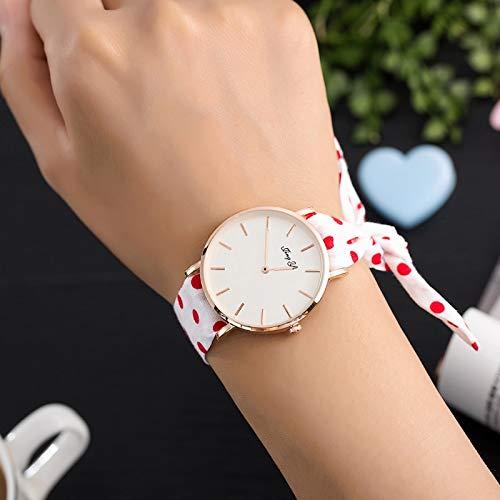 TCEPFS Mode Mädchen Uhren Stoff Band Stil Frauen Perlen Armband Uhren mitUhrenboxfür Geschenk Damen Kleid Uhrweiß red1