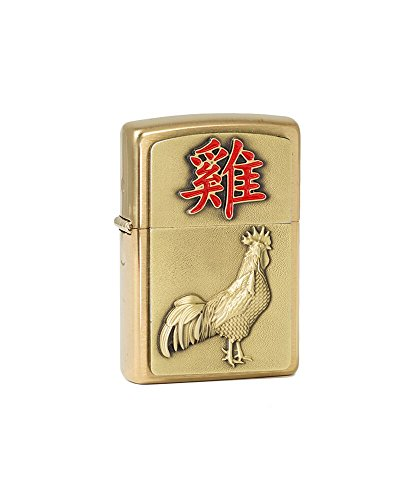 Zippo Year of The Rooster 2017-12 PCS Mahagoni Woodenbox-Brass Brushed Art-Nr.: 2.004.788-Suggested Retail: Euro 79,95 Accendino, Cromo, Chrome, 5.5x3.50x1.5 cm