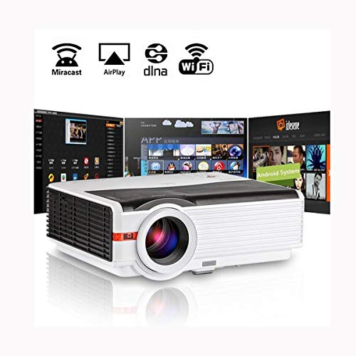 Ai LIFE Proyector doméstico inalámbrico LED 1080P Smart LCD WiFi TV Multimedia Proyector de Cine Interior al Aire Libre HD Gaming HDMI USB VGA AV Audio para Smartphone Laptop DVD PS4 1280x800 Native