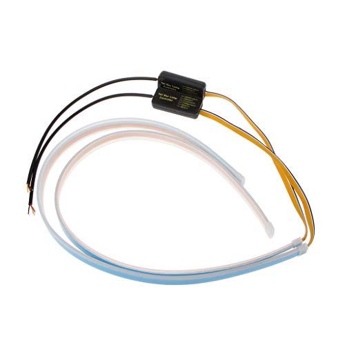 Runrain Feux de circulation diurnes LED étanches ultra-fins et flexibles pour voiture 45 cm