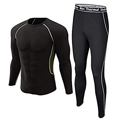 Thermal Underwear Set Winter Hunting Gear Sport Long Johns Base Layer Bottom Top Black with White M