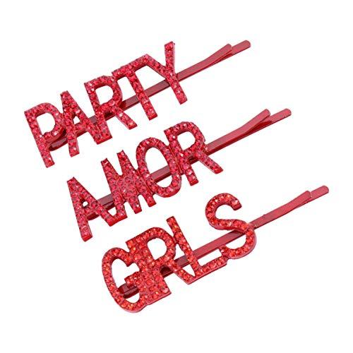 Lurrose 3 stuks Engelse woorden bobby pin meisje amor party brief patroon haarspelden elegante haarspelden bruiloft kerstfeest haaraccessoires voor vrouwen dames